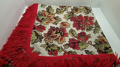 Vintage Retro Large Floral Printed Linen Tablecloth RedGreen Gold With RedFringe