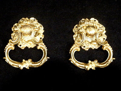 """Antique Pair of Solid Brass Hollywood Regency Drawer Pulls, 5"""" x 3.5"""" Portugal"""