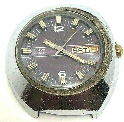 Watch Slava 27 Jewels Soviet Ussr S Russian Mechanical Mens Rare Vintage Old