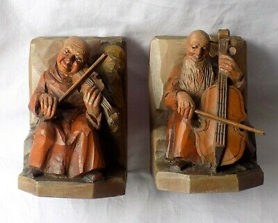 Vintage Anri Tyrolean Wooden Bookends.carved Monks Playing Instruments.austria.