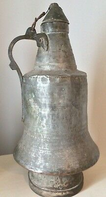 Antique Large Middle East Persian Turkish Etched Copper Water Kettle Signed 19""