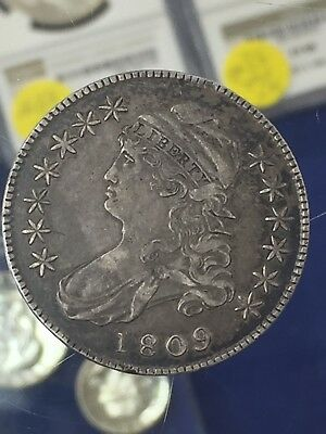 1809 Capped Bust Silver Half Dollar Coin VF-XF