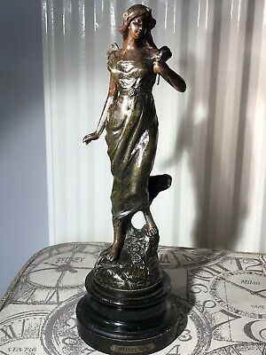 Antique Art Nouveau Spelter Figure Of A Lady Statue Sculpture