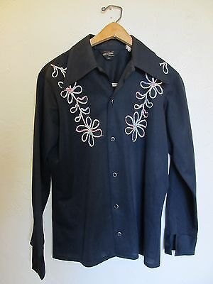 Vintage 1960s 70s NATIONAL SHIRT SHOP EMBROIDERED DISCO WESTERN COWBOY SHIRT Sm
