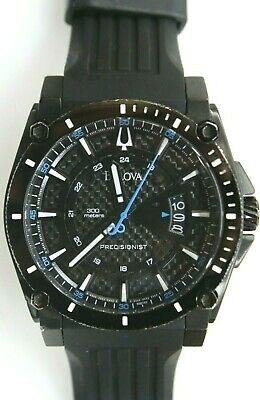 Bulova Precisionist 98B142 Champlain Black Dial Silicone Strap Men's Watch