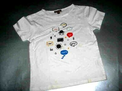 Emile Et Ida White S/s Polo Stencil Of  Face And Pop Words Sz. 4A