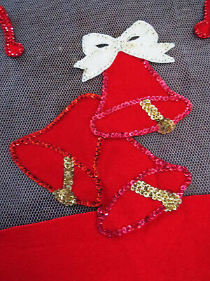 Large Net Tulle Christmas Tablecloth Red White Green Sequin Bells Music Vintage