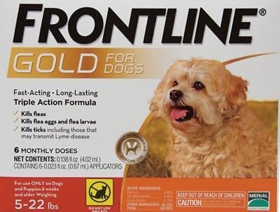 FRONTLINE GOLD for Small Dogs 5-22 Lbs 6 PACK, EPA Approved, FREE SHIPPING !!!