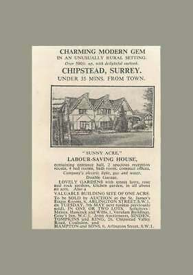 1936 Chipstead, Surrey, Sunny Acre, Laboursaving House,4 Bedrooms , Offices