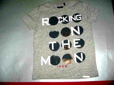 Ikks Grey S/s Tee With Stencil Rocking On The Moon Sz. 4A