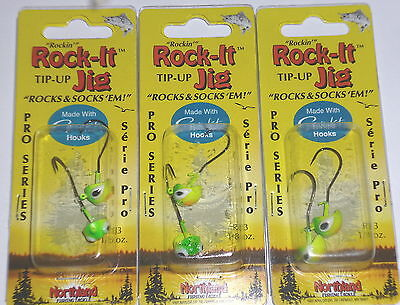 Lot of 2-Green Holo-3//pk-Hard to Find Northland Tackle 1//8 Fire-Ball Jigs