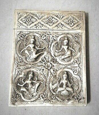Asia Antiques 19th Century China Chinese Wang Hing Solid Silver Card Case Box 纯银盒 Handsome Appearance