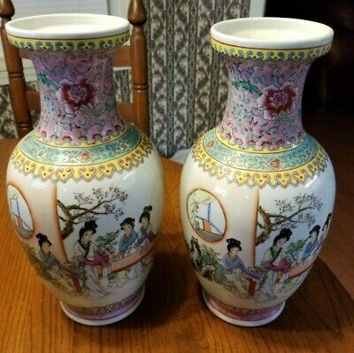 Pair Of Famille Rose Figural Image Vases Marked