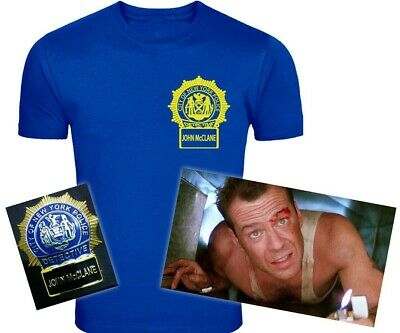 Die Hard Inspired John McClane Police Badge Screen-Printed T-Shirt