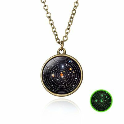 Retro Galaxy Universe Nebula Space Glass Ball Pendant Glow in the dark Necklace