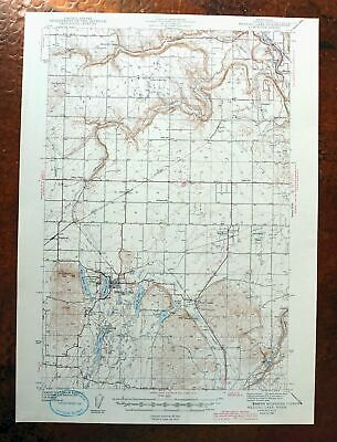 1943 Medical Lake Washington Vintage USGS Topographic Map Four Lakes Espanola
