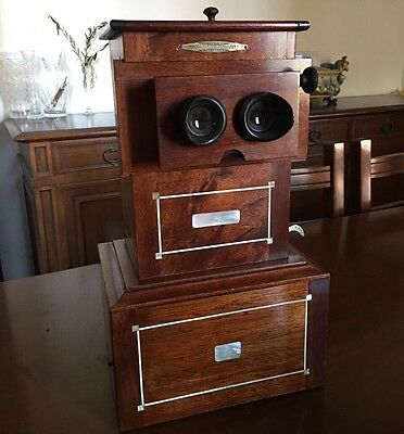 Educa Stereoscope Acajou Stereoviewer Stereobetrachter Plaques Verre Visionneuse