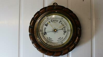 Carved Rope Edged Aneroid Barometer , Porcelain Dial