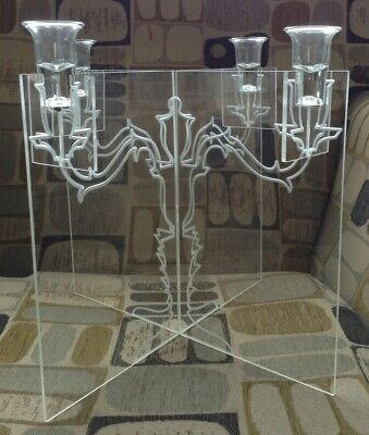 INNERMOST GHOST Jon Russell Designer Clear Acrylic Candelabra 29cm Tall Perspex