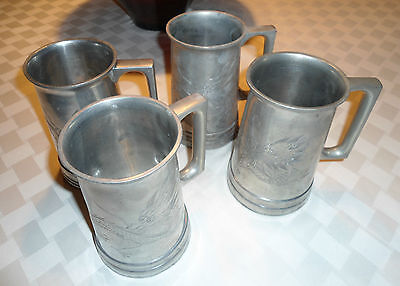 HUIKEE SWATOW Chinese Dragon Silver Metal Pewter Steins glass bottoms 4 Vintage