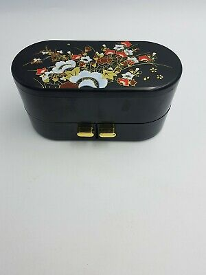 Chinese Hard Plastic Black 2 Layer Jewellery Box Drawers Mirror Red Gold Floral