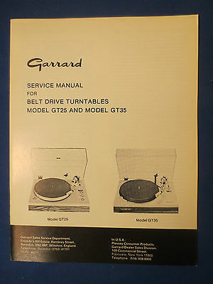 Garrard Gt-25 Gt-35 Service Manual Factory Original Issue The Real Thing