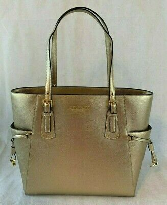 4b8c3ed36767 Michael Kors Voyager East West Crossgrain Leather Tote Bag Pale Gold $228