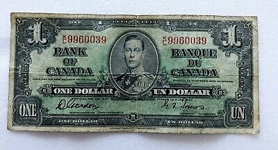 1937 One Dollar King George Vi Canada Currency Banknote Note Money Bill Cash 39