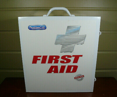 """First Aid Kit Metal Wall Mount Box Medical Large Empty White Emergency 15""""X16"""""""