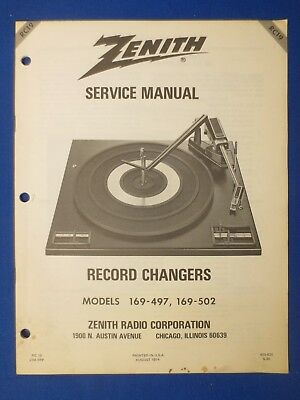 Zenith 169 - 497 169 502 Service Manual Factory Original The Real Thing  # RC19