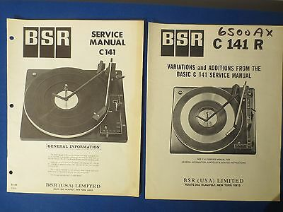 Bsr C141 C141R Turntable Service Manuals Factory Original The Real Thing