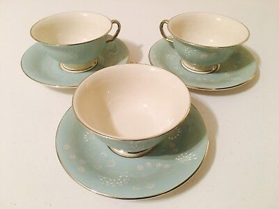 """3 Vintage Mid-Century Castleton China-""""Corsage"""" Footed Tea Cup-Saucer Sets"""
