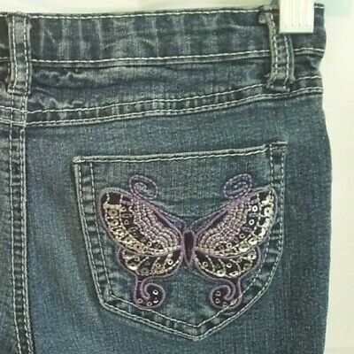 fbf6dcfa4 Lulu Luv Girls Size 6 X 6x Denim Blue Jeans with Butterflies Sequins Bling