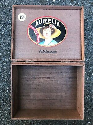 Antique 1935 15 Cents Biltmore Aurelia Brown Wood Wooden cigar box Vintage