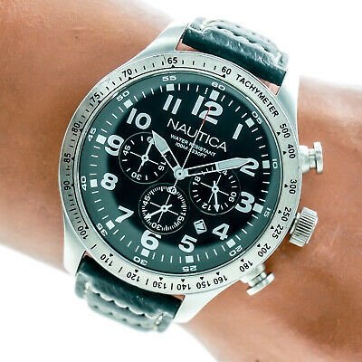 Nautica Mens Chronograph Watch N17616G Black Dial Leahter Band Date 100m Working