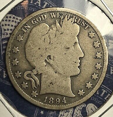 1894 Barber Silver Half Dollar Collector Coin For Your Set Or Collection .