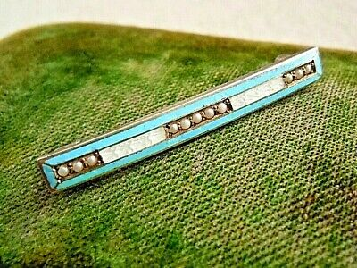 Antique Edwardian Sterling Guilloche Enamel Real Seed Pearl Lace Pin Estate Lot