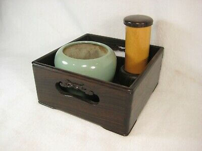 Antique Japanese 110 Yr Old Ebony Tansu Box Tabakobon W/ Imari Brazier & Bamboo