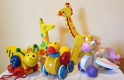 Wooden Pull Along Toys lot