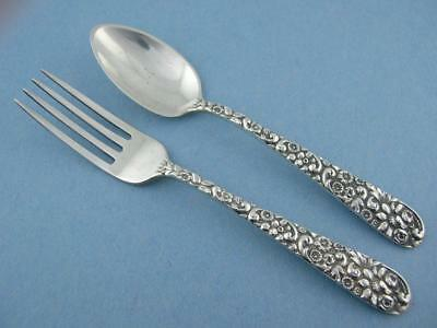 Sterling JENKINS & JENKINS Baby / Youth Fork & Spoon Set ~floral REPOUSSE NoMono