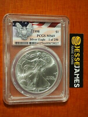 1998 American Silver Eagle Pcgs Ms69 1 Of 250 Eagle Flag Label