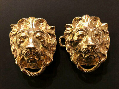 MIMI di N Vintage 1974 Designer Belt Buckle Lion Door Knocker Gold Plated MINT