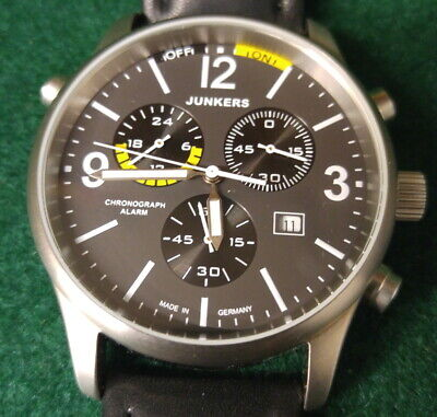 3a17339b13e JUNKERS G-38 CHRONOGRAPH Titanium Watch with Alarm Function #6296-5 ...