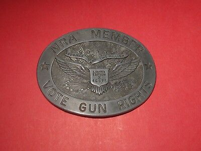 Vintage NRA MEMBER VOTE GUN RIGHTS Limited Edition II Silver Tone Belt Buckle