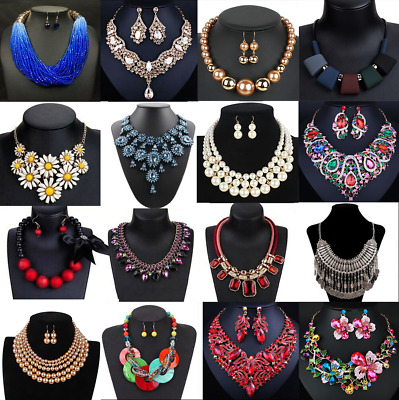 Fashion Women Crystal Necklace Bib Choker Pendant Statement Chunky Charm Jewelry
