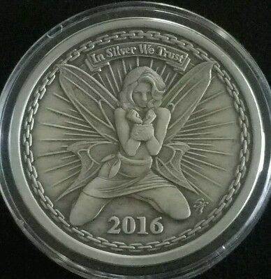 2016 Silverbug Alyx The Fairy Proof Antiqued 1 Oz 999 Silver Round Coin Rare Coa