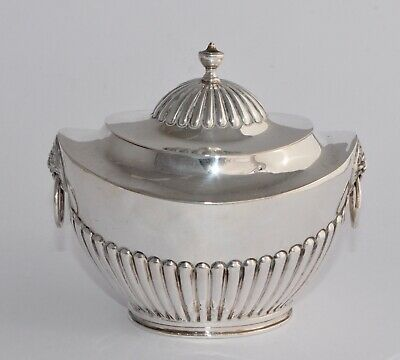 1913 Solid Sterling Silver Tea Caddy - Half Fluted/Lion Head Handles - 193g