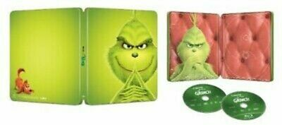Dr. Seuss: The Grinch (BLU-RAY + DVD + DIGITAL, 2018) Steelbook