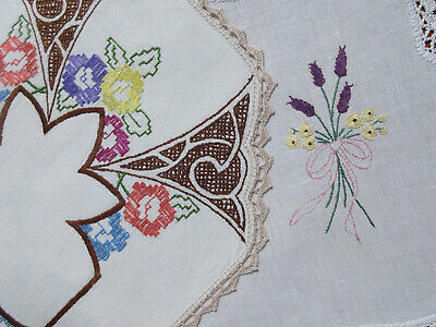 Two LARGE Vintage Hand Embroidered/Crochet  DOILIES 'Never Used'