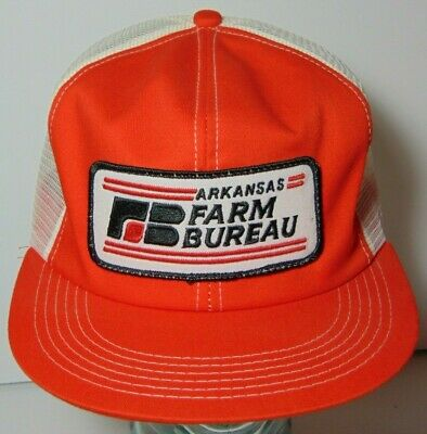Vintage 80s ARKANSAS FARM BUREAU SNAPBACK TRUCKER HAT CAP K-PRODUCTS MADE IN USA